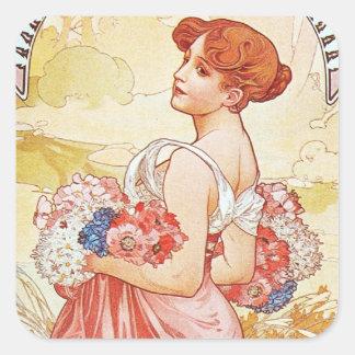 Floral Spring Goddess Square Sticker