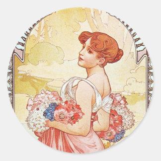 Floral Spring Goddess Round Sticker