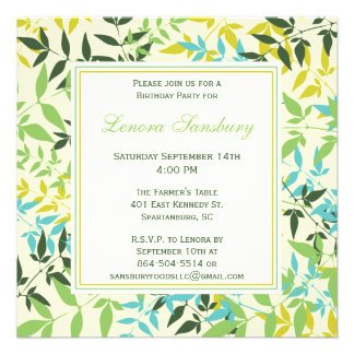 Floral Square Birthday Party Invitation