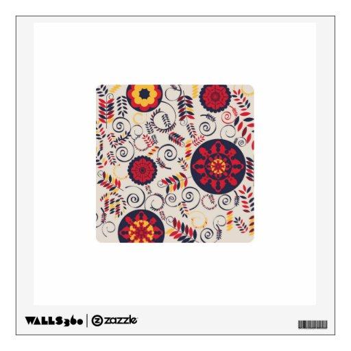 Wall Design Square : Floral square design wall decals zazzle