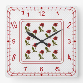 Floral Square of Red Roses, White Lattice Pattern Square Wall Clock