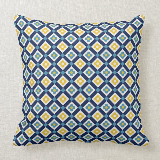 Square Throw Pillow Pattern : Floral squares pattern throw pillow Zazzle