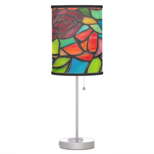 floral stained glass table lamp zazzle. Black Bedroom Furniture Sets. Home Design Ideas