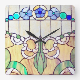Floral Stained Glass Wall Clock