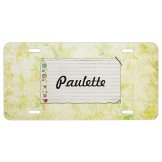 Floral Stapled Note Paper Bright Background License Plate