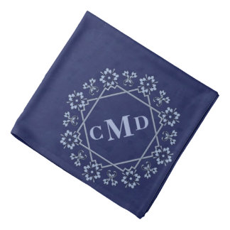 Floral Star Border Navy Blue Pattern Bandana