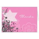 Floral Star Jewish Baby Naming Thank You Card