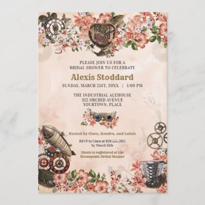 Floral Steampunk Bridal Shower Invitation