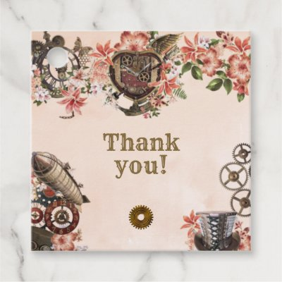 Floral Steampunk Thank You Favor Tags