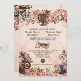 Floral Steampunk Wedding Invitation