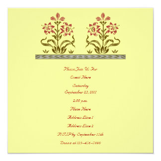Floral Stencil Art Invitation
