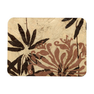 Floral Stencil Design with Tawny Leaves Magnet