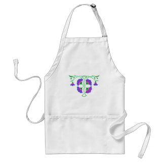 Floral stencil with celtic knot adult apron