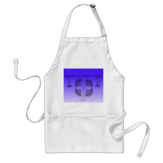 Floral stencil with celtic knot in blue adult apron