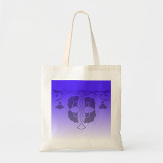 Floral stencil with celtic knot in blue budget tote bag