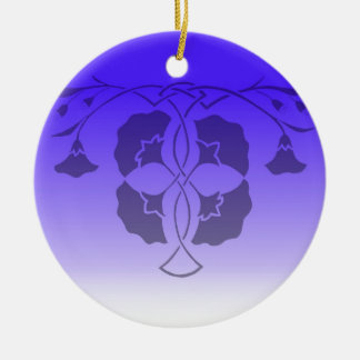 Floral stencil with celtic knot in blue Double-Sided ceramic round christmas ornament