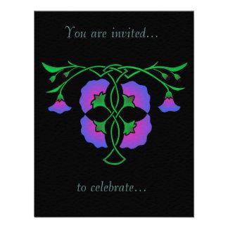Floral stencil with Celtic knot, invitation Invitations