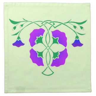 Floral stencil with celtic knot napkin printed napkins