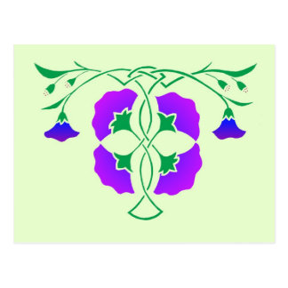 Floral stencil with celtic knot post card
