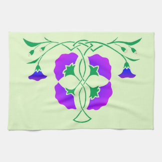 Floral stencil with celtic knot towel towel