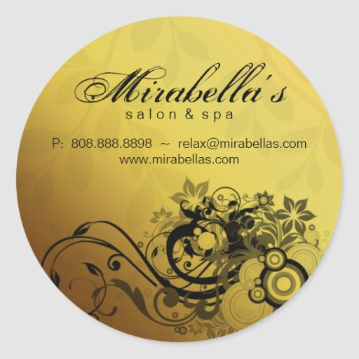 Floral sticker salon spa gold butterfly zazzle for Stickers salon