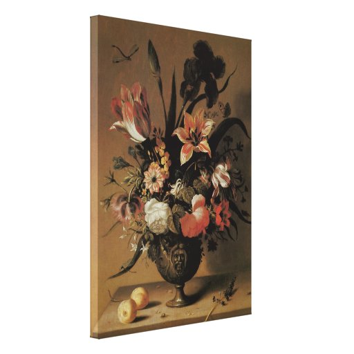 Floral Still Life Flowers in Vase, Vintage Baroque Gallery Wrapped Canvas