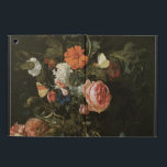 """Floral Still Life Flowers in Vase, Vintage Baroque iPad Air Case<br><div class=""""desc"""">Flower Piece (1663) by artist Willem van Aelst (1627- c.1687) is a vintage fine art baroque floral still life painting. A beautiful bouquet of garden flowers including roses and peonies in a vase with insects,  butterflies and a grasshopper. A blue ribbon is next to the flowers on the mantle.</div>"""