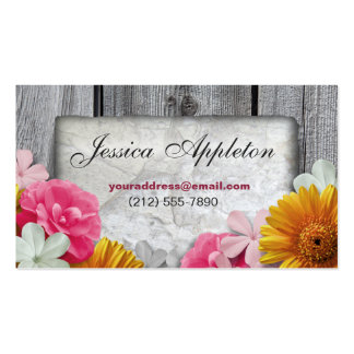 Floral Stone & Rustic Wood Personal Calling Cards Business Card