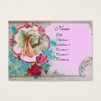FLORAL STORK BABY SHOWER ROSES MONOGRAM Pink Lilac Business Card