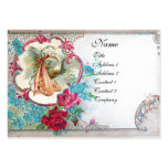 FLORAL STORK BABY SHOWER WITH ROSES MONOGRAM LARGE BUSINESS CARD