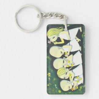 Floral Streetcar Ikeda Shuzo oriental children kid Double-Sided Rectangular Acrylic Keychain