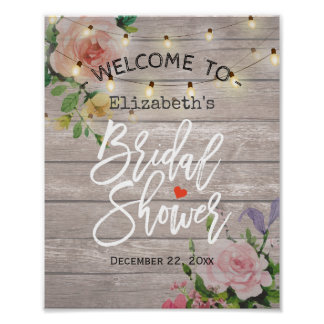 Floral String Lights Bridal Shower Welcome Sign