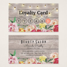 Floral String Lights Rustic Wood Salon Loyalty Business Card at Zazzle