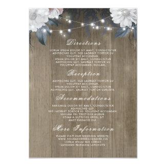 Floral String Lights Rustic Wood Wedding Details Card