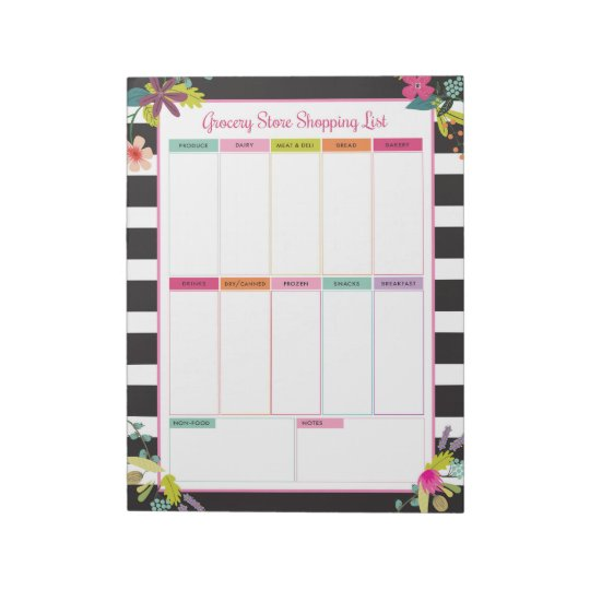 Floral Stripe Grocery Store Shopping List Notepad