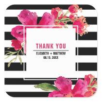 Floral | Stripe Pattern Wedding Favor Sticker