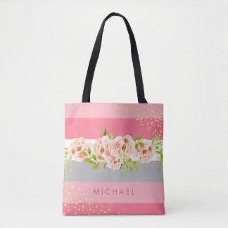 Floral Stripe Pink Peony Ranunculus Faux Gold Foil Tote Bag