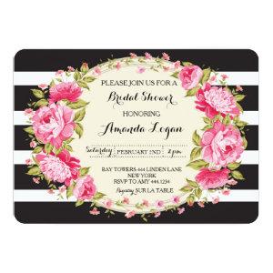Floral Striped Bridal Shower Invitation