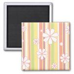 floral stripes_1 2 inch square magnet
