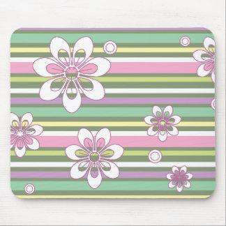floral stripes_2 mouse pad