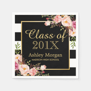 Floral Stripes Class Of 2017 Graduation Napkin at Zazzle