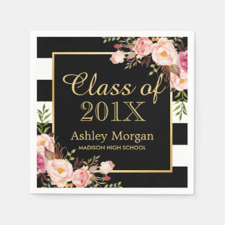 Floral Stripes Class of 2017 Graduation Napkin
