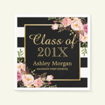 Floral Stripes Class of 2018 Graduation Napkin