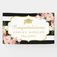 Floral Stripes Glam Congrats Grad Graduation Party Banner
