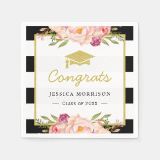 Floral Stripes Glam Congrats Grad Graduation Party Napkin