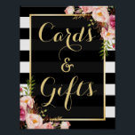 "Floral Stripes Gold | Cards and Gifts Wedding Sign<br><div class=""desc"">================= ABOUT THIS DESIGN ================= Floral Stripes Gold 