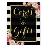 Floral Stripes Gold | Cards and Gifts Wedding Sign Poster