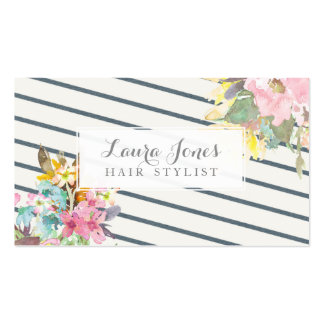 Floral & Stripes Hair Stylist Appointment Cards Business Card