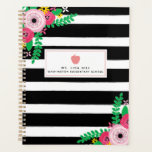 "Floral Stripes Pink Apple Teacher Planner<br><div class=""desc"">A teacher planner featuring a sketchbook inspired black and white stripes design on front and back with floral design at top left and bottom right of front.  Front features custom text under illustration of a golden yellow apple.</div>"