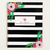 Floral Stripes Pink Apple Teacher Planner